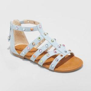 Stevies Demin Embellished Girls Sandals